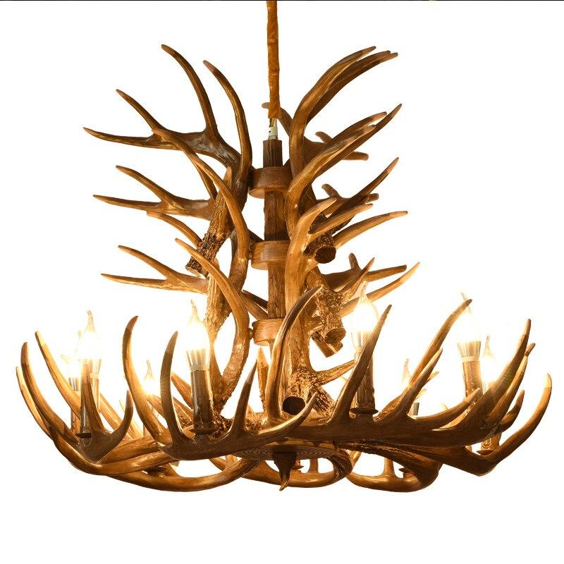 LOFT industriel Vintage suspension lumières brun blanc résine bois cerf E14 LED salon suspension lampe pour chambre Bar décor