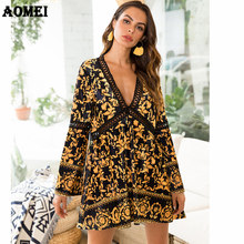 Printed Dress for Women Deep V Neck Sexy Hollow Out Velvet Long Sleeve Mini  Swing Casual 189e5fca0211