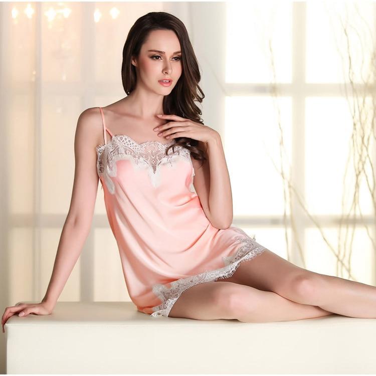 2017 new design summer sleepwear women night dress sexy spaghetti strap silk lace babydoll sleep dress sexy night shirts