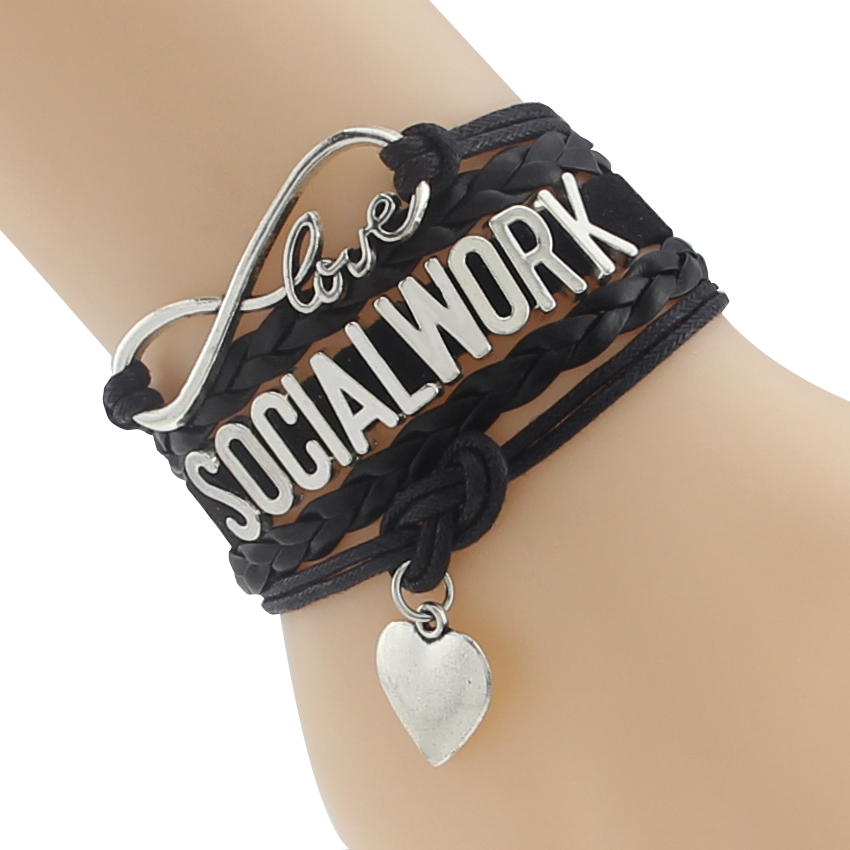 Free shipping!Infinity Love Social Work Bracelet Leather Braided Strap Velvet Bracelets for wokers Gift ...
