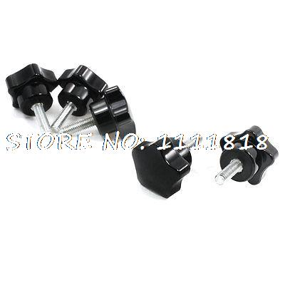 5 x 41mm High 20mm Thread Length Screw On Type Star Shape Knob 5x 46mm high 25mm thread length screw on type star shape knob