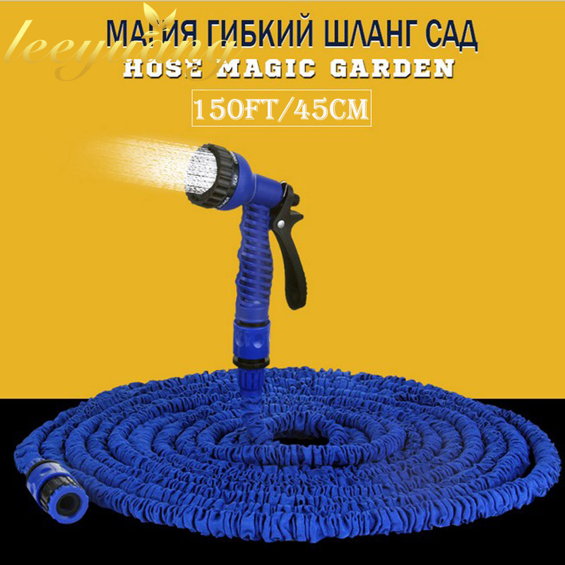 High Quality 150ft Magic Garden Hose Expandable Water Hose Pipe Blue Water Valve spray Water Gun