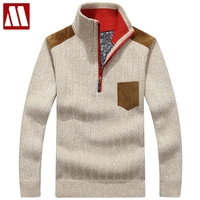 Warm Winter Sweaters Mens Pullover Thick Casual Men's Knitwear Classic Pullovers Men Middle aged Blending Stand Collar Clothing