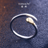 TONGLiN 925 Sterling Silver Gold Anti allergy Simple Matches Wedding Couples Rings Bijouterie for Unusual Woman Gift