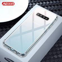 AOXIN 3D Clear Phone Case Voor Samsung Galaxy S10 S9 S8 Plus S10e S7 rand Case Transparant Soft TPU Siliconen tas Shell Cover(China)