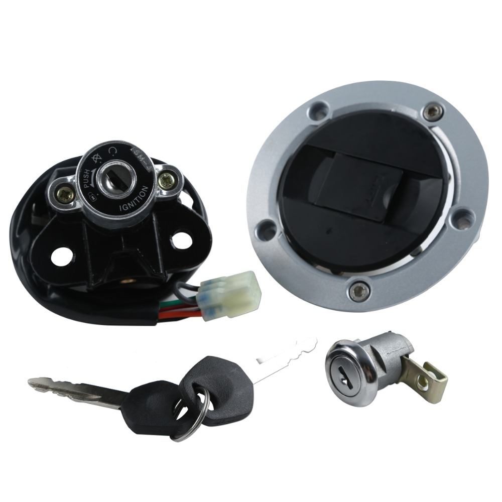 Motorcycle Metal Fuel Gas Tank Cap Cover Lock + Ignition Switch Lock Set For Suzuki <font><b>GSXR</b></font> <font><b>600</b></font> 750 <font><b>2004</b></font> 2005 image