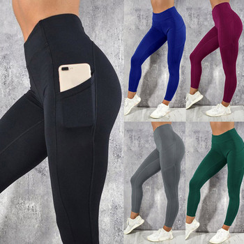 Women's Solid Workout Leggings Fitness Sports Gym Running Yoga Athletic Pants High Waist Sport Leggings Women Black #LRSS