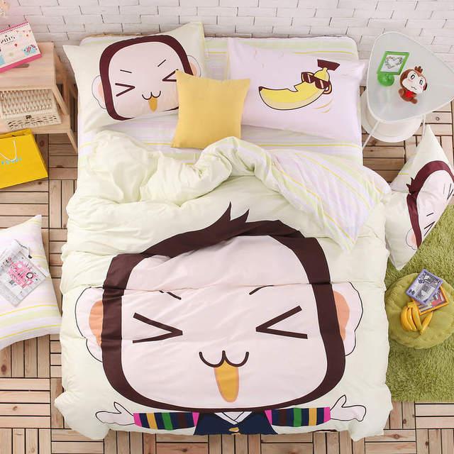 4pcs/set 100% Cotton Cartoon Printed Soft Comforter Cover Pillowcase Flat Sheet Duvet Cover 3D Bedding Set King Size