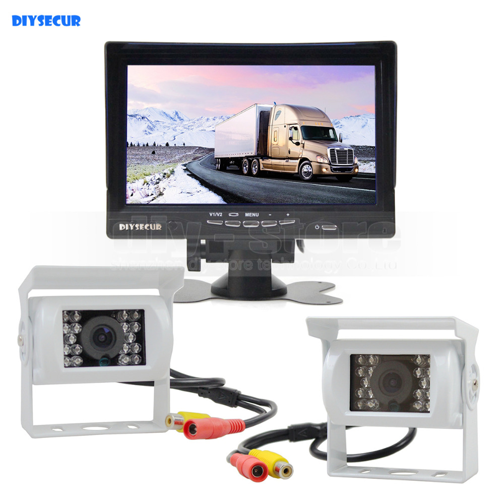 DIYSECUR 7inch TFT LCD Rear View Monitor Car Monitor Waterproof IR Night Vision Rear View Car Camera for Trucks Caravans Bus Van diysecur 4pin dc12v 24v 7 inch 4 split quad lcd screen display rear view video security monitor for car truck bus cctv camera