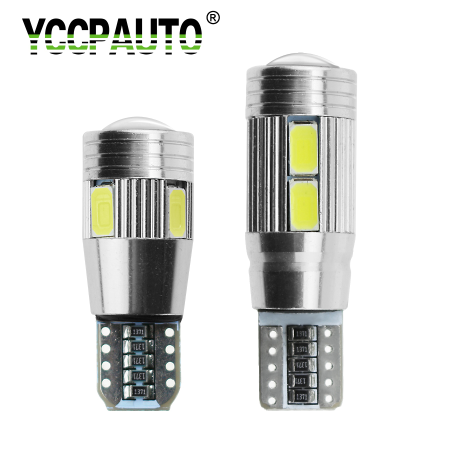 YCCPAUTO Car T10 LED 194 W5W Canbus Light Bulb No Error Light Parking Clearance Side Turn Signal Light White 1PCS 5630 SMD 2pcs t10 canbus led car light 6smd 5630 auto no error free 12v w5w 194 168 bulb stopturn signal interior parking light
