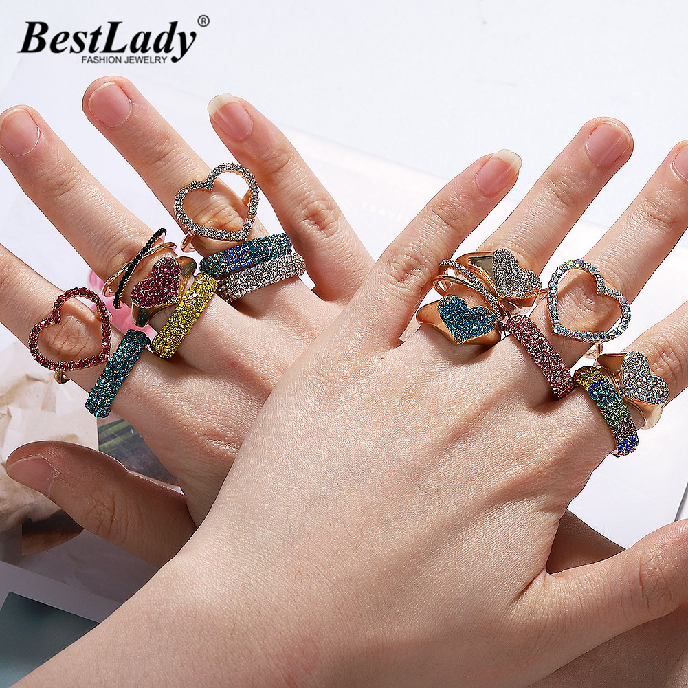 Wedding-Rings Glass Crystal Boho Heart Round Best Design Bohemian Fashion Women Brand