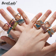 Best lady Boho Fashion Crystal Wedding Rings for Women Brand Design Round Heart Girls Gift Bohemian Glass Promise Rings Hot Sale(China)