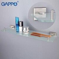 GAPPO Wall Mounted Bathroom Shelves Bathroom Glass Shelf Holder Double Layer Storage Shelf Bathroom Hardware Holder