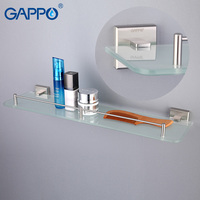 GAPPO Wall Mounted Bathroom Shelves Bathroom Glass Shelf Holder Double Layer Storage Shelf Bathroom Hardware Holder