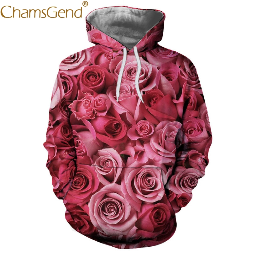 Sweatshirts Men Hoodies 3D Rose Print Couple Sweatshirts 80905