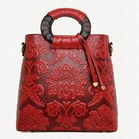 Women's High Quality Wooden Handle Tote Bag Classical Embossed Floral Shoulder Bag Elegant Lady Leather Cross Body Bag A40-340