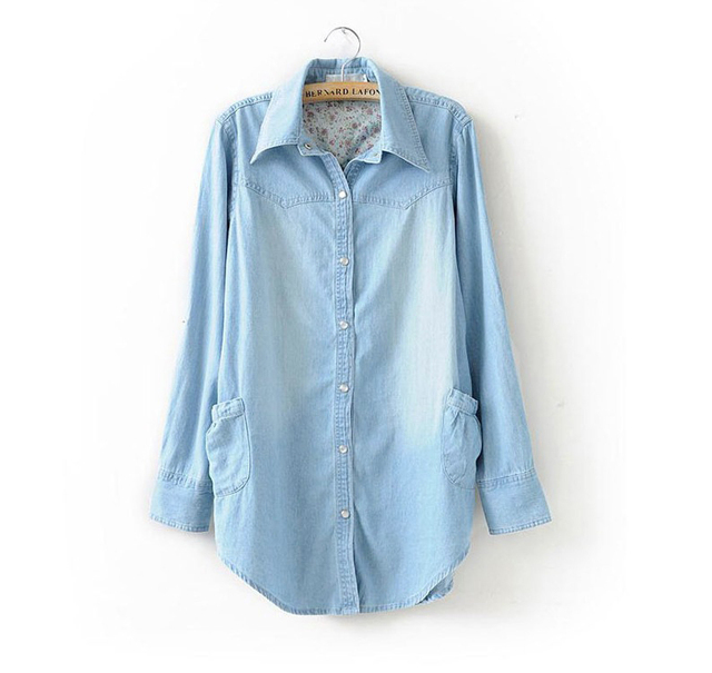 2015 Spring Autumn T shirt Women Tops Denim Light Blue Casual Plus Size XXXL Tshirts Long Sleeve Thin Outerwear Woman's Clothing