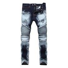 1fbab56008 Nuevo Biker Jeans hombres Vintage de alta calidad en dos tonos de azul Jeans  moda Pantalón elástico hombre delgado cremallera De.