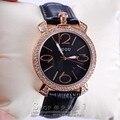 GUOU púrpura de oro rosa mujeres de la marca de lujo completo rhinestone señoras del reloj de cuero genuino banda reloj de cuarzo reloj de las mujeres famosas