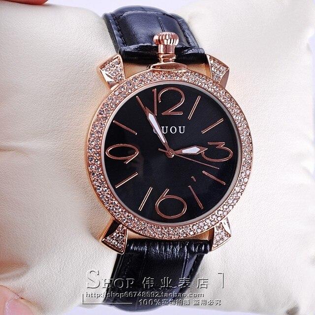 GUOU purple rose gold women luxury brand full rhinestone watch ladies genuine leather band quartz watch women famous wristwatch