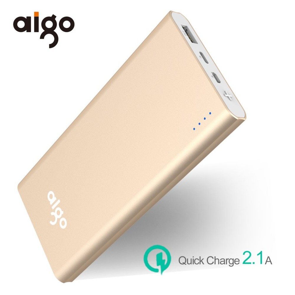 Aigo Power Bank 10000mAh with LED Display Portable External Battery USB Type C 5V 2.1A Powerbank for iPhone X Samsung Xiaomi Mi
