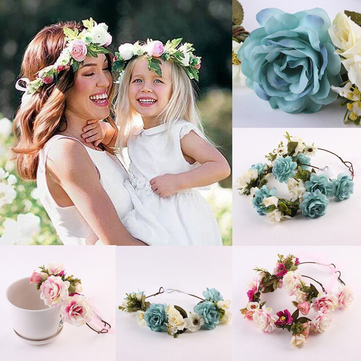 Women Flowers Hairware Cute Beautiful Decor Girls Wedding Flowers Hair Headbands Crown Prop Garland For Wedding Party Decor 2019