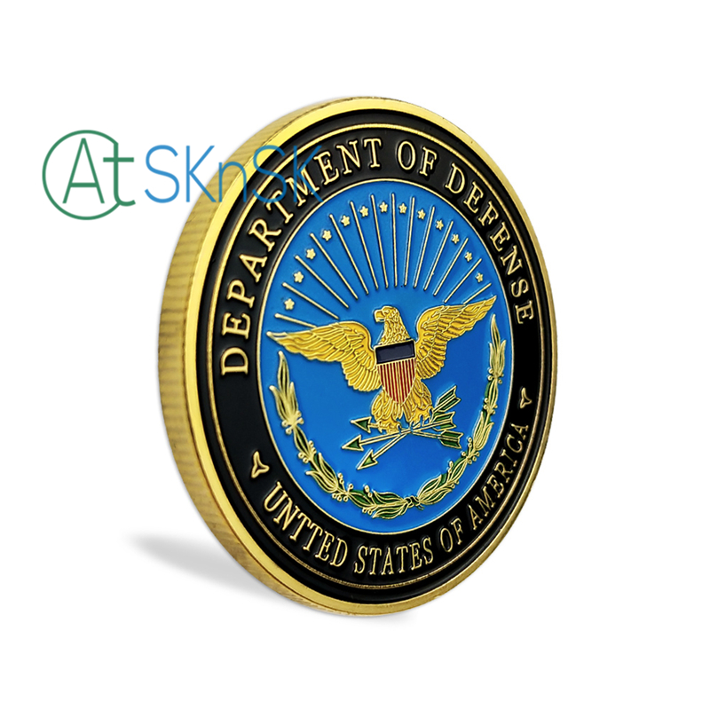 USA Army Navy Air Force Marines The Pentagon Military Gold Plated Challenge Coin