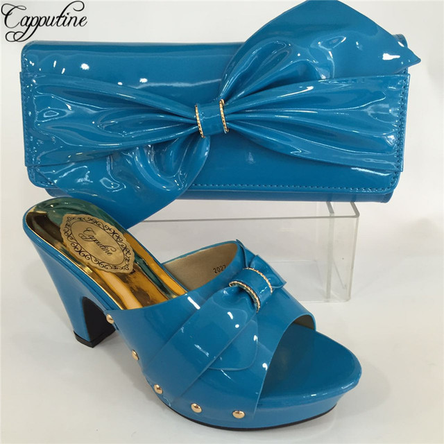Capputine New Arrival Nigeria PU Leather Wedding Shoes And Bag Set Italian Ladies Shoes and Bags To Match Set For Dress BL695C