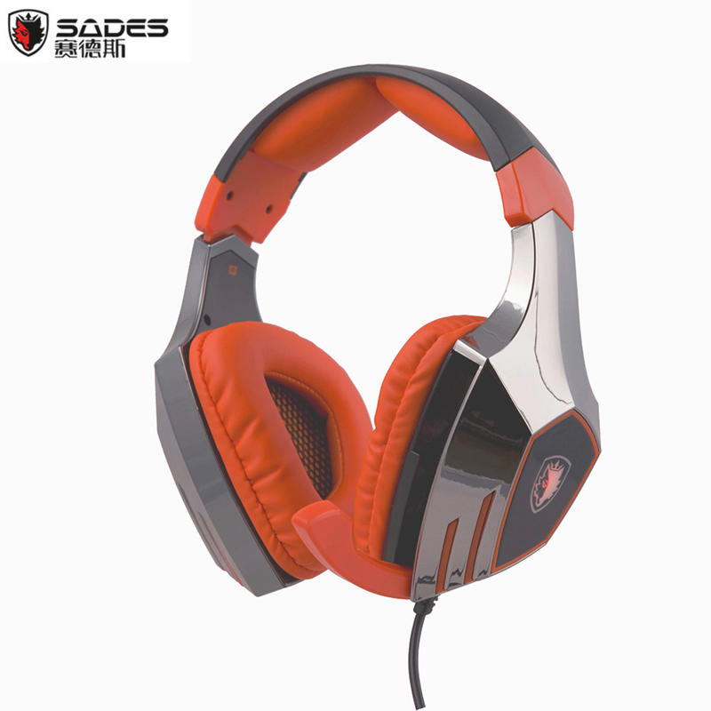 ФОТО SADES A60 Gaming Headset Gamer 7.1 Surround Sound Stereo USB Headphones with Microphone Vibration Function LED Light for PC Game