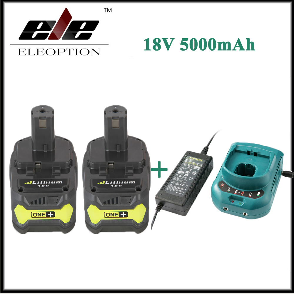 2x Eleoption 18V 5000mAh Li Ion Rechargeable Battery For Ryobi P108 RB18L40 P2000 P310 For Ryobi