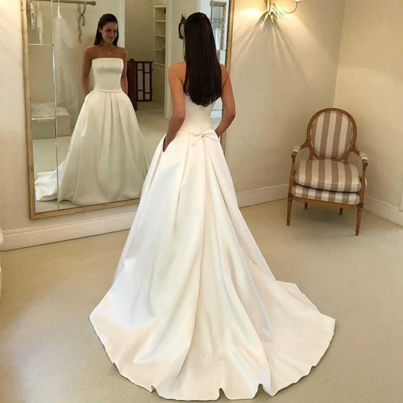 2019 Simple vestidos sin tirantes para novia satén Vestido de novia traje elegante De novia Vestido de novia bata De Mariee