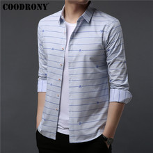 COODRONY Brand Men Shirt Autumn New Streetwear Fashion Striped Casual Shirts Cotton Shirt Men Long Sleeve Camisa Masculina 96048