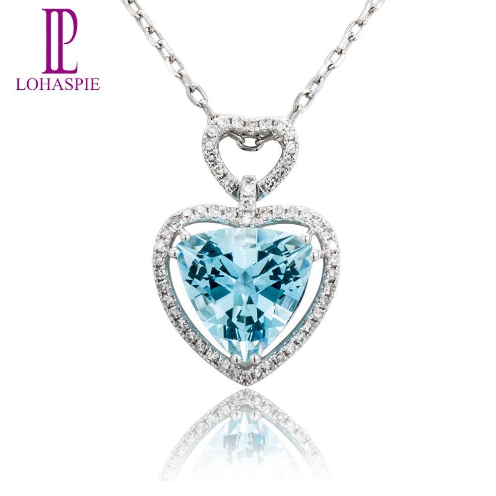 Lohaspie Diamond-Jewelry Solid 18k 750 White Gold 3.04ct Natural Aquamarine Pendant Fine Stone Jewelry For March Birthday Gift