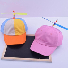 summer Korean Child Adult Adjustable Propeller Ball Baseball Cap Dragonfly Top Multi-Color Patchwork Funny Clown Sun Cap Costume