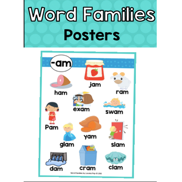 24pcs Set English Vowel Combination Poster Word Family Posters A4