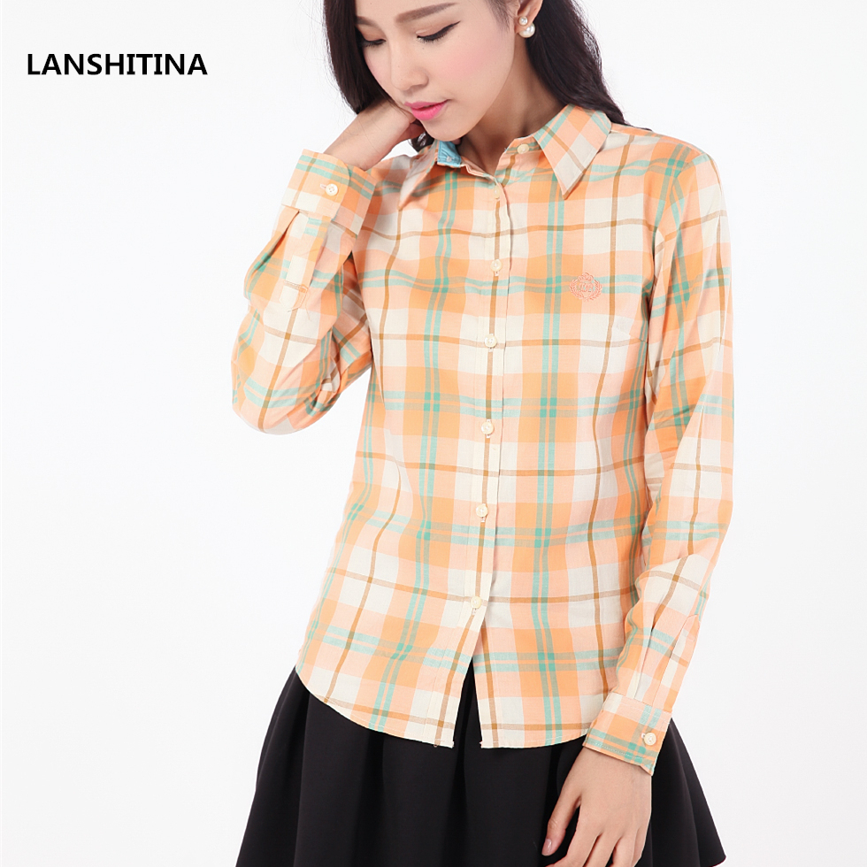 New 2016 Fashion Women 100 Cotton Plaid Shirt Blouse High Quality Women Turn down Collar Summer