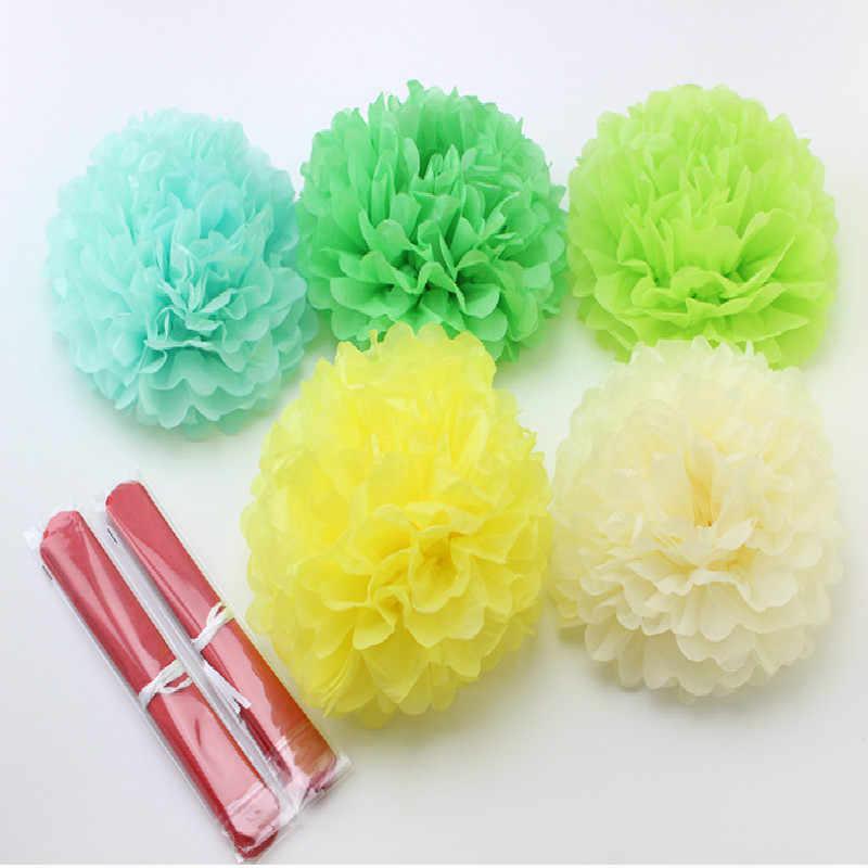 10''25cm Buatan Tangan Kertas Tisu Pompoms Dekoratif Pernikahan Kertas Bunga Bola Pesta Ulang Tahun Baby Shower Dekorasi Kertas Pom Pom