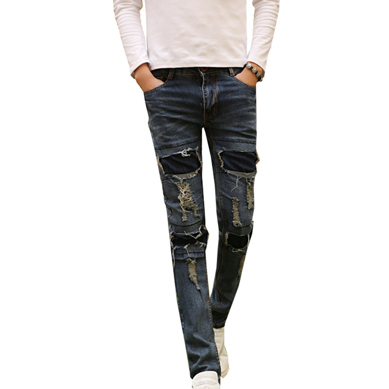 New Men's Ripped Jeans Brand Designer Badge Patched Hip Hop Retro Vintage Washed Distressed Slim Fit Denim Pants For Men N-ZK015 men distressed knee holed jeans vintage enzyme washed male ripped denim pants slim fit korean fashion kpop broken jeans