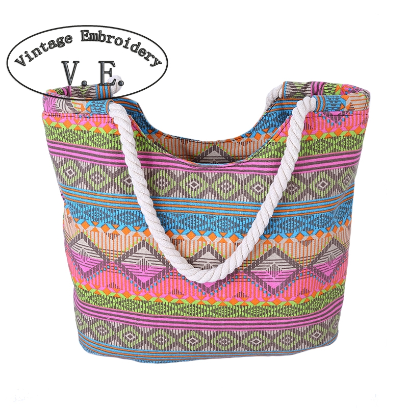 Vintage Embroidery Boho Women Bag Canvas Handbags Casual Women Big Shoulder Bag Floral Printing Shopping Bag Beach Bags scione new canvas women bag shopping shoulder bag funny design piano printing handbag beach tote woman canvas hand bags 2pcs set
