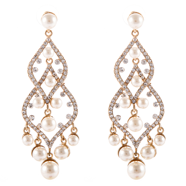 8 5 Cm Luxurious Pearl Chandelier Crystal Inlaid Earrings Vintage Long Bridal Wedding Bridesmaids Jewellery Brinco