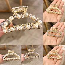 Women Ladies Korean Style Metal Alloy Side Hair Claw Luxury Faux Pearl Glitter Rhinestone Jaw Clip Hollow Out Geometric Shape недорого
