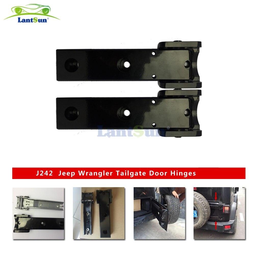 Pair j242 lantsun black aluminum tailgate door hinges for jeep wrangler jk 07+