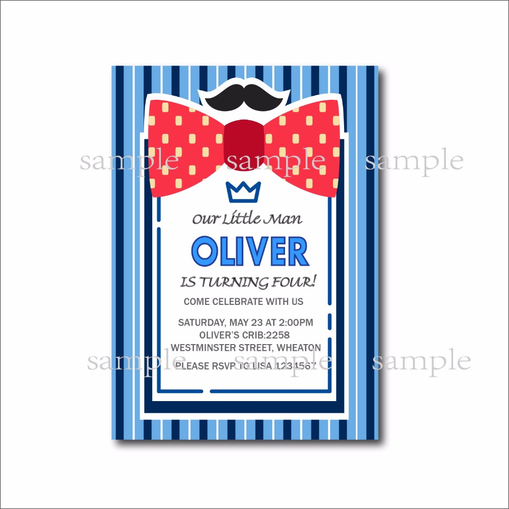 20 pcs/lot Little man bow tie birthday invitations Mustache Birthday ...