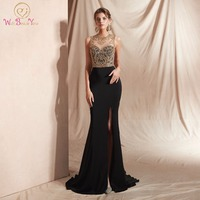 fad4865465 2019 Black Mermaid Evening Dresses Appliques Prom Gown Sleeveless Empire  Crystal Beating O Neck Vintage Formal. 2019 negro sirena vestidos de noche  ...