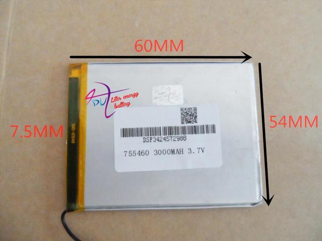 Tableta de la batería 755460 3000 MAH MP3 MP4 3.7 MP5 Bluetooth pequeño juguete de la batería de polímero de litio GPS