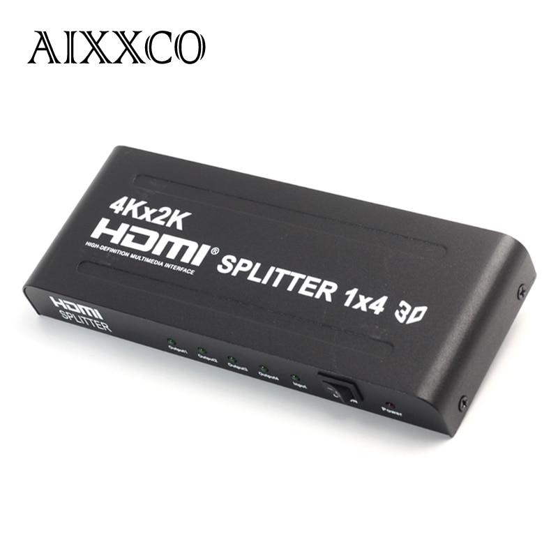 AIXXCO HD 4K x 2K 3D 1080p HD 1 4 HDMI Splitter 4 Port Hub Box