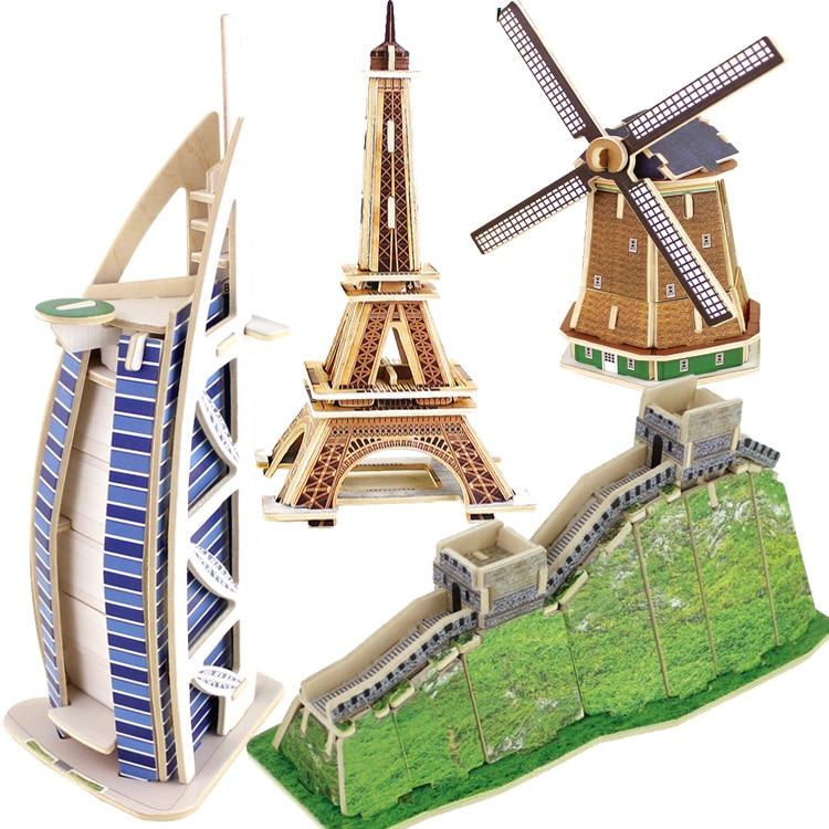 Robotime legno 3D modello giocattolo FAI DA TE regalo di puzzle wolrd grande architettura del big ben Eiffel Torre Pendente Ponte burj al arab hotel