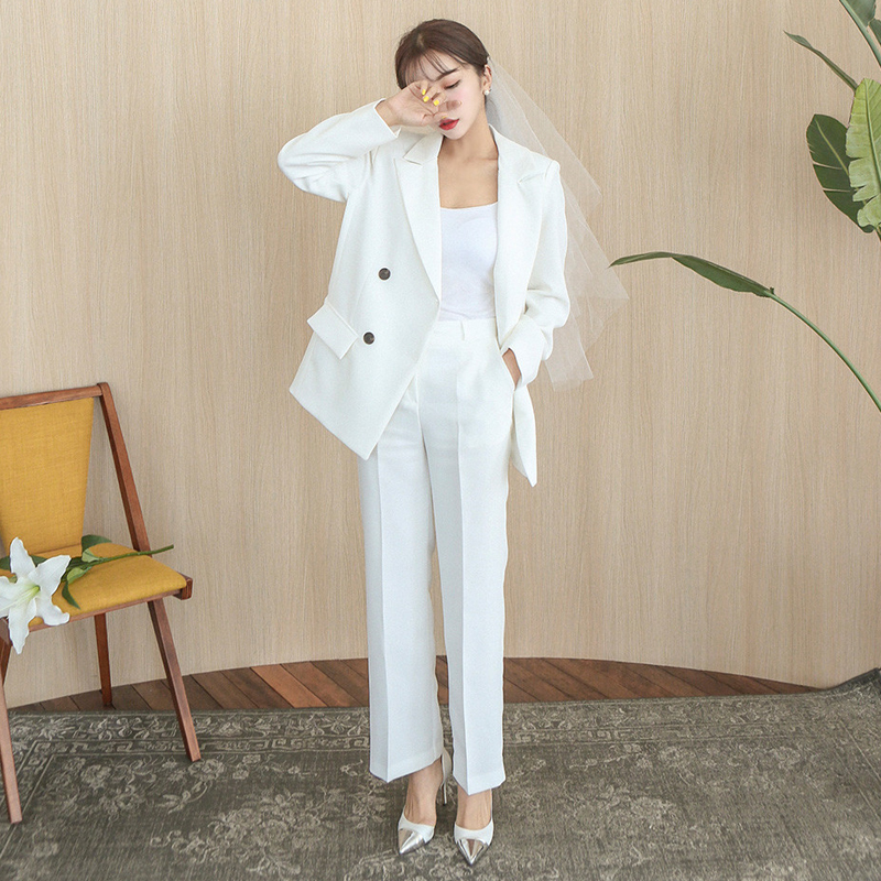 Women's Suits 2019 Autumn White Professional Small Suit Fashion Temperament Loose Ladies Jacket Slim Trousers Two-piece