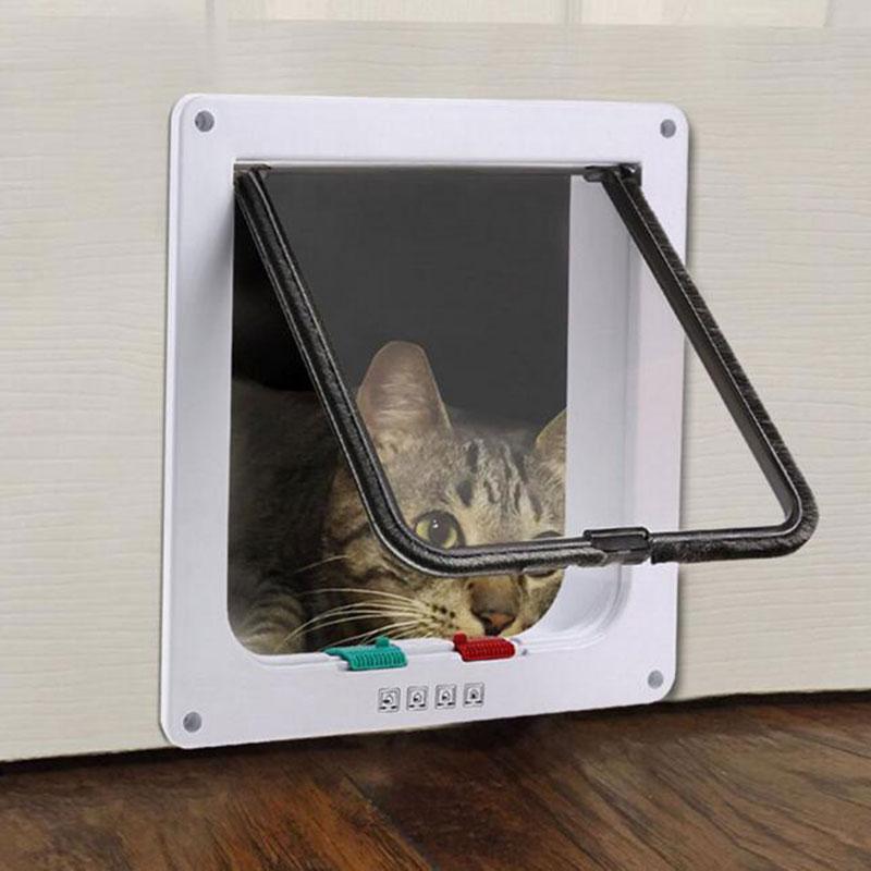 3 Sizes Creative Pet Dog Door ABS Plastic Lockable Cat Door Security Flap Gate Pet Cage Dog Door White Pet Door Gateway Supplies