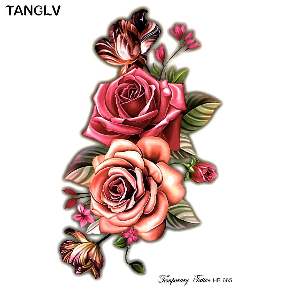 Big small rose flower 3D Flash Temporary Tattoos women\'s DIY tattoo ...